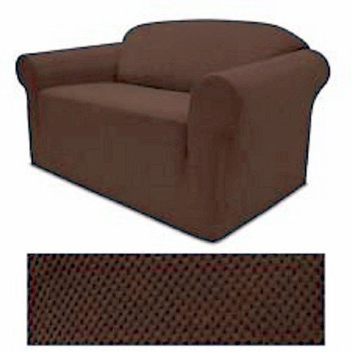 Grand Linen 4-Way Stretch Spandex Jersey CHOCOLATE BROWN Loveseat Slipcover - 1 Piece Couch Cover