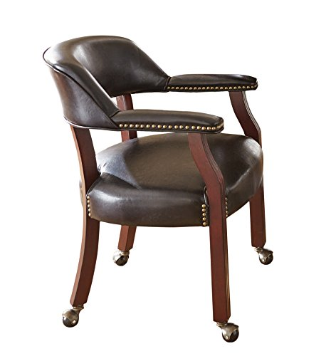 Steve Silver Company Tournament Captains Chair with Casters, Black, 25'' W x 25'' D x 31'' H by Steve Silver
