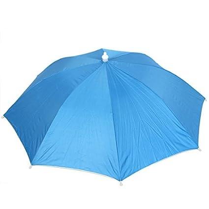 eDealMax Accesorio de cabeza al aire Libre Paraguas plegable de la Pesca Sombrero Blue Sky