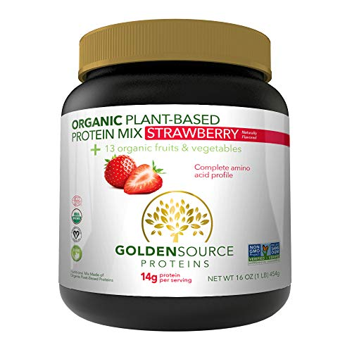 GoldenSource Organic Plant-Based Protein, Strawberry,