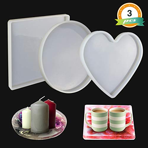 Heart Plaster - LET'S RESIN Large Resin Molds, 3 Pcs Large Tray Molds Including Round, Square, Heart Shape, Resin Silicone Molds for Casting Resin, Concrete, Plaster Craft etc