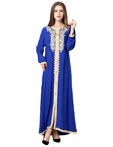 Muslim kaftan dubai long sleeve dress with embroidery for women Islamic clothing gown abaya for girls, Blue, (Blue Kaftan)