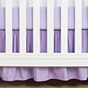 TILLYOU Crib Bed Skirt Dust Ruffle, 100% Natural Cotton, Nursery Crib Bedding Skirts for Baby Boys Or Girls, 14  Drop Lilac