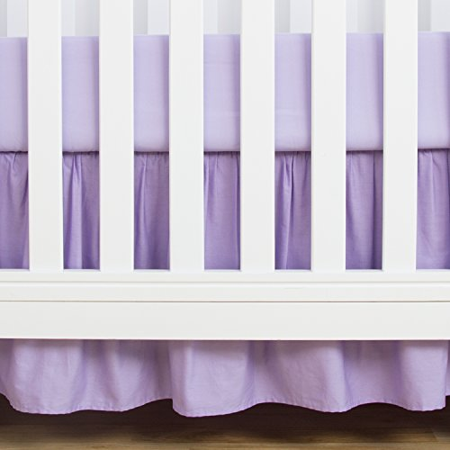 TILLYOU Crib Bed Skirt Dust Ruffle, 100% Natural Cotton, Nursery Crib Bedding Skirts for Baby Boys or Girls, 14