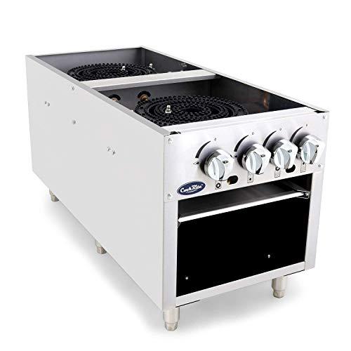 CookRite ATSP-18-2 Two Burner Stock Pot Stove Natural Gas Stainless Steel Countertop - 160,000 (Burner Stock Pot Range)