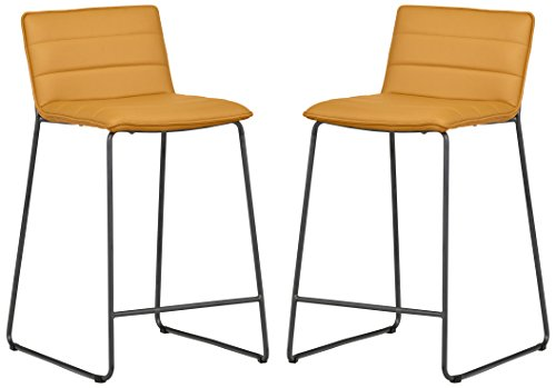 Rivet Julian Minimalist Modern Tufted Dining Room Counter Bar Stools, Set of 2, 34.3 Inch Height, Synthetic Leather, Autumn Yellow (Stool Rattan Dining Room Bar)