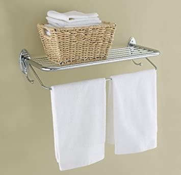 Amazoncom Hotel Style Towel Rack With Towel Bar And Built In Towel