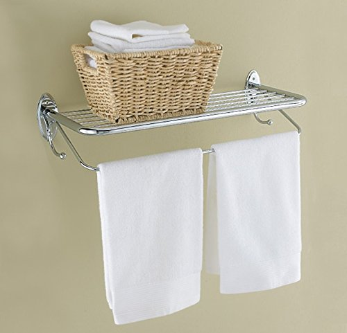 HOTEL-STYLE TOWEL RACK WITH TOWEL BAR AND BUILT-IN TOWEL HOOKS - POLISHED CHROME - 23.75