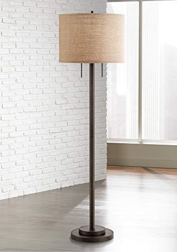 Garth Modern Floor Lamp Oil Rubbed Bronze Burlap Fabric Drum Shade for Living Room Reading Bedroom Office - Possini Euro Design