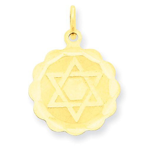 David Diamond Disc Pendant (Diamond2Deal 14k Yellow Gold Solid Star of David Disc Pendant)