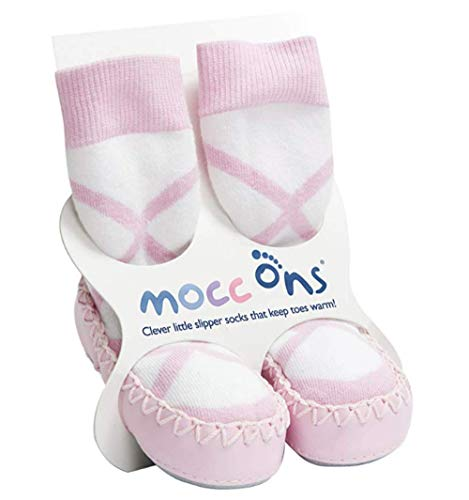 Mocc Ons Cute Moccasin Style Slipper Socks, Ballerina - 18-24 Months