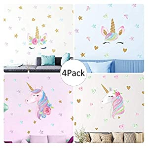Unicorn Wall Decal, 4 Pack, 4 Styles, Unicorn Wall Stickers Decor with Heart & Stars for Girls Bedroom Home Decorations