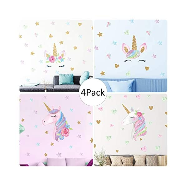 Unicorn Wall Decal, 4 Pack, 4 Styles, Unicorn Wall Stickers Decor with Heart & Stars for Girls Bedroom Home Decorations 3