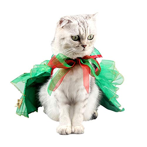 Albabara PET Christmas Costumes, Christmas Tree Design Cloak for Dog CAT, Cute Christmas Halloween Cosplay Costumes for Puppy Kitten