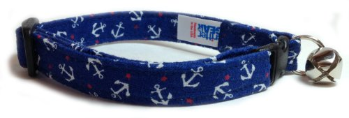 Breakaway Cat Collar in Blue with Mini Anchors (U.S.A. Made)