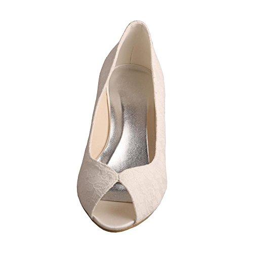Spitze Keilabsatz Schuhe Toe Wedopus Elfenbein Hochzeit Peep MW407 Prom Braut frauen Niedrigen 0HwEqw1