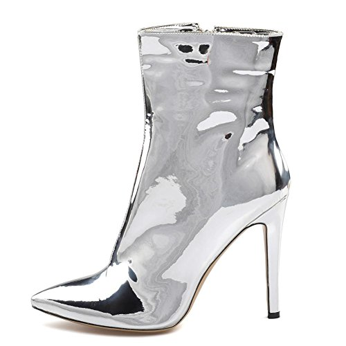 Leather Ankle High Women EUR38UK55 SILVER Spring Winter NVXIE Silver Boots Ladies Stiletto Shoes Heel Sexy Autumn Fashion Pointed Patent 1xwO0Uwn