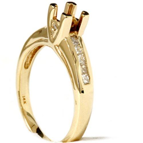 1/3ct Princess Cut Diamond Semi Mount Ring 14K Gold - Size 9.5