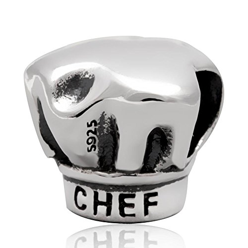 I Love Cooking Charm 925 Sterling Silver Chef Charm Hat Charm for Bracelet