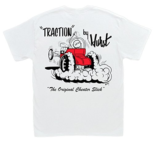 Pontiac Drag Racing - Hot Shirts Traction By Hurst Cheater Slicks T-shirt Large White Vintage Drag Gasser Hot Rod
