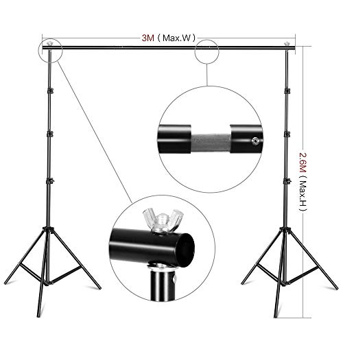 2.6 X 3M Adjustable Background Stand Background Support Kit Removable with Carry Bag for Hanging Background Cloth by SH (Image #2)