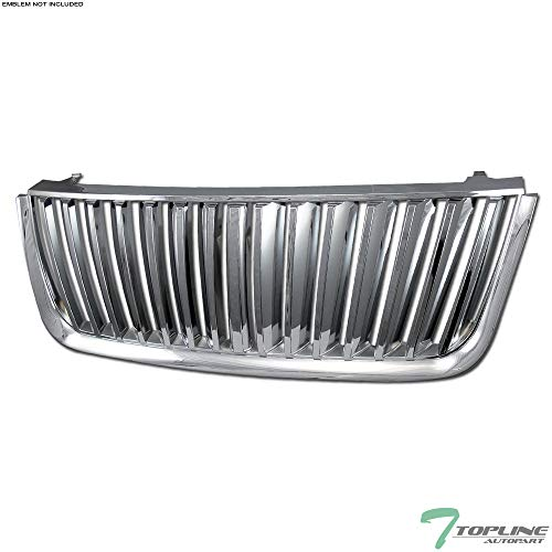 (Topline Autopart Chrome Vertical Badgeless Front Hood Bumper Grill Grille For 03-06 Ford Expedition)