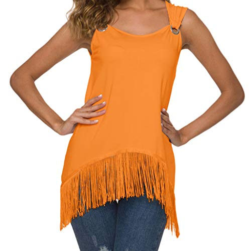 Sleeveless Shirts for Women Plus Size Sexy O-Neck Solid Tassel Hem Loose Tank Tops Blouse Orange ()