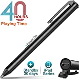 Heiyo iPad Active Stylus Pens Supporting 40 hrs Playing Time 30-Day Standby 120s Built-in Battery Auto Power Off 3 Replaceable Fine Point Rubber Tips Touchscreen Styli Compatible with iPad Series