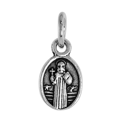 Very Tiny Sterling Silver St Benedict Medal Antique Finish Oval, 3/8 inch (Antique Medal Sterling Silver)