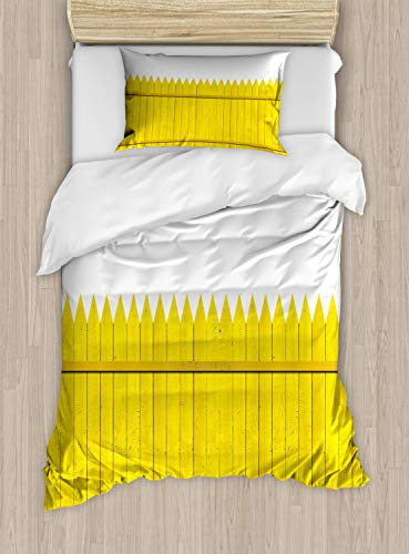 (Ambesonne Yellow Duvet Cover Set, Colorful Wooden Picket Fence Design Suburban Community Rural Parts of Country, Decorative 2 Piece Bedding Set with 1 Pillow Sham, Twin Size, Yellow Mustard )