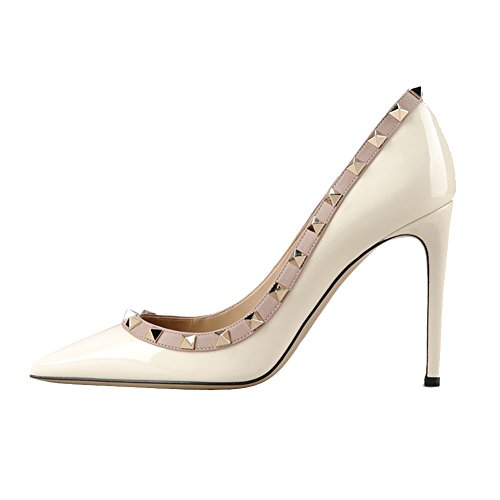 EKS Women's Fllosacf Patch Work Edge With Rivets Studs High Heels Pointed Toe Pumps For Dress Plus Size UK 3-11 White-Patent 2gidsF