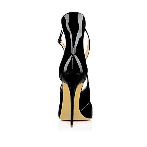 MERUMOTE Damen Y-196 Stilettos Ausgeschnitten Pumps Cross Strap Party Schuhe Damen Lack-Schwarz 42 EU