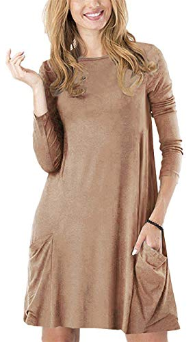 Zero City Womens Casual Pockets Plain Flowy Simple Swing T-Shirt Loose Dress, 08coffee, Large]()
