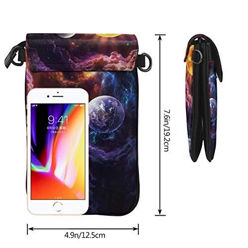 HYJUK Mobiltelefon crossbody väska vacker galax kvinnor PU-läder mode handväska med justerbar rem