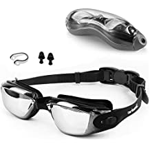 Zerhunt Swim Goggles, Swimming Goggles UV 400 Protection Anti Fog No Leaking Wide View Pool Goggles with Ear Plug Nose Clip & Protective Case for Women Men Adult Youth Kids