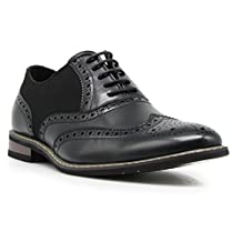 Titan01 Men's Spectator Tweed Plaid Two Tone Wingtips Oxfords Perforated Lace Up Dress Shoes