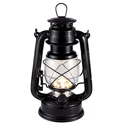 Vintage LED Hurricane Lantern, Warm White Battery Operated Lantern, Antique Metal Hanging Lantern with Dimmer Switch, 15 LEDs, 150 Lumen for Indoor or Outdoor Usage (Black) -