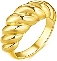 Fenbory Thick Croissant Dome Ring 18K Gold Plated Twisted Chunky Rings Wide Band Ring Stacking Valentine's