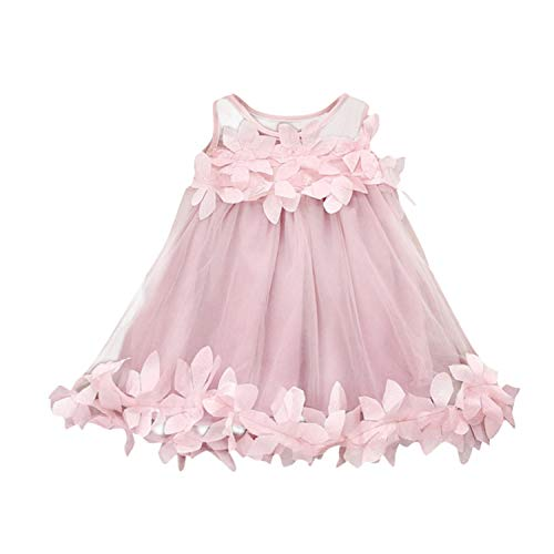 Girl Dress Baby Applique Princess Dress Girl Solid Party Dress A-Line Mesh Dresses 0 to 3 Years Pink 24M -