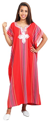 Moroccan Caftans Women Light Weight Linen Handmade SMALL to LARGE Red ()