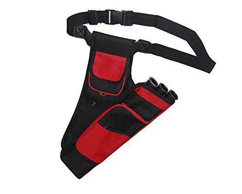 Huntingdoor Adult Archery Target Quiver Arrow Holder 3 Tube Quiver Belt Waist Quiver Right Hand (Red)