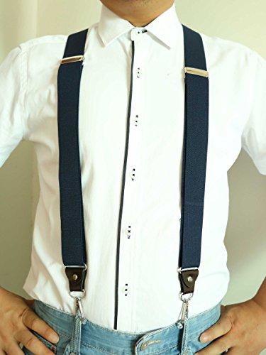 """Men/'s Suspenders 1.37/"""" Wide Y-Back Swivel Hook Clips Leather Crosspatch Black"""