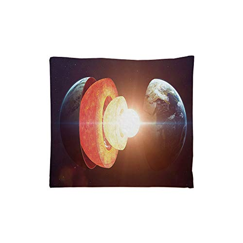 Geomagnetic Shapes - Indoor/Outdoor Square Seat Cushion,Comfort Memory Foam Chair Pad,Earth,Core of the Earth Structure Burning Magma Geomagnetic Tectonic Split Decorative,Orange Light Yellow Indigo,Fit for most of c