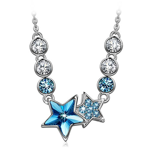 LADY COLOUR Blue Star Pendant Necklace for Women Daughter Girls Gifts Swarovski Crystal Women Jewelry Birthday Gifts Idea for Teen Girls Sister Granddaughter Gifts from Husband for Wife