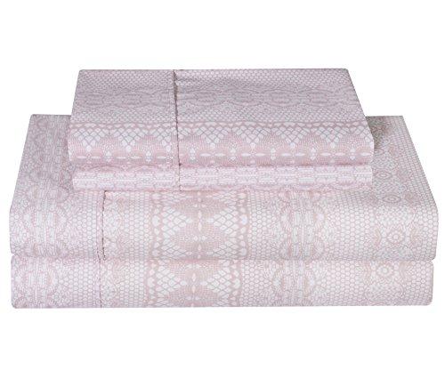 Ellen Tracy Ultra-Soft Double Brushed Microfiber Printed 4pc Bed Sheet Set - Pink Fleur du Jour, King