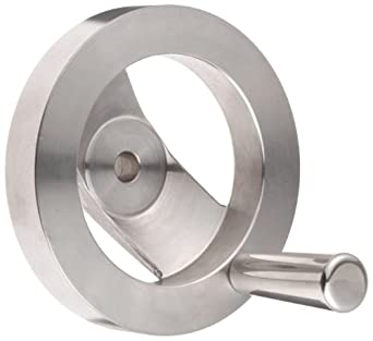 """2 Spoked Stainless Steel 303 Dished Hand Wheel with Revolving Handle, 4"""" Diameter, 1-1/4"""" Hub Diameter (Pack of 1)"""