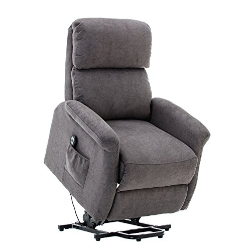European Classic Recliner - BONZY Lift Recliner Classic Power Lift Chair Soft and Warm Fabric with Remote Control for Gentle Motor - Gray
