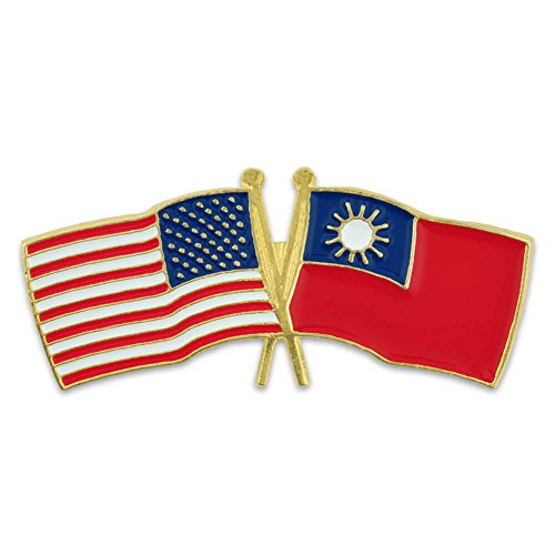 (PinMart USA and Taiwan Crossed Friendship Flag Enamel Lapel Pin)