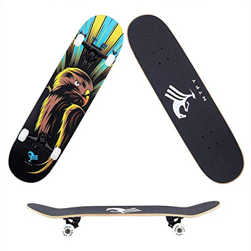 UMaple Pro Skateboard Complete, Double Kick Canadian Maple Wood Long Boards Skateboards for Christmas, Birthday Gift for Kids Boys Girls 7 Up Years Old -