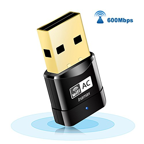 (USB WiFi Adapter, AC600 Mini Wireless Network WiFi Dongle for PC/Desktop/Laptop, Dual Band (2.4G/150Mbps+5G/433Mbps) 802.11 ac, Support Windows 10/8/8.1/7/Vista/XP, Mac OS 10.6-10.14)